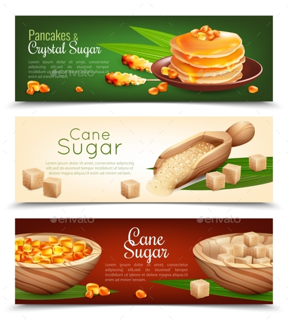 Cane Sugar Banners Set - Food Objects