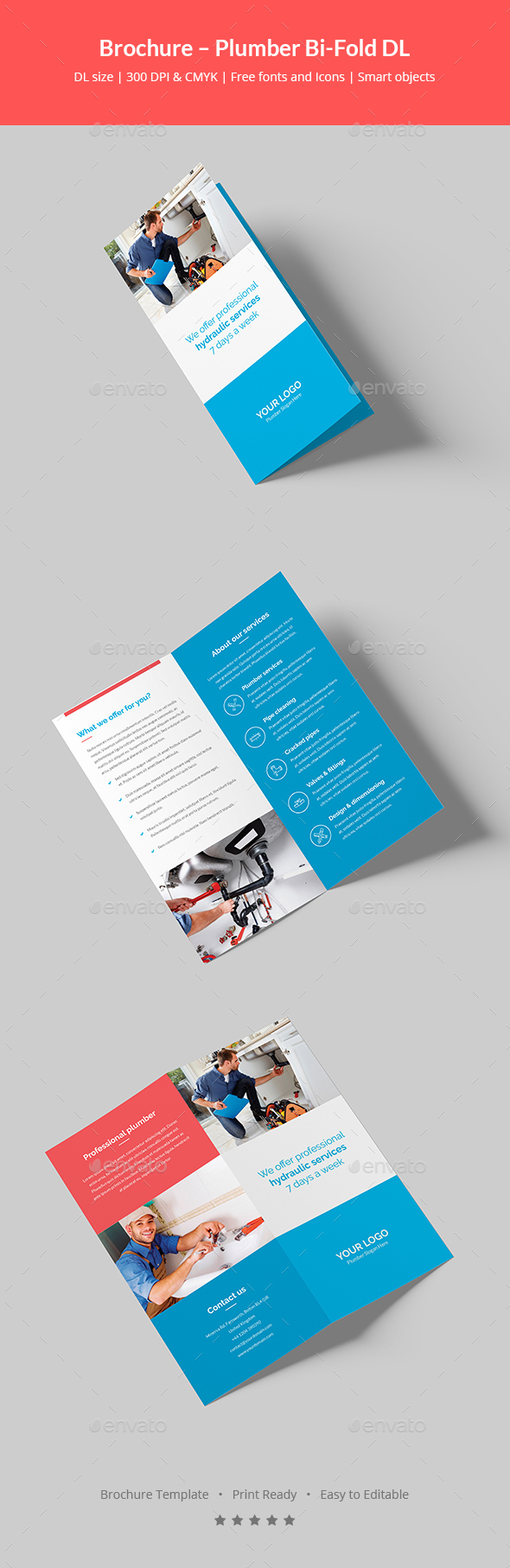Brochure plumber bi fold dl by artbart graphicriver for Dl brochure template