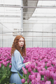 Standing between tulips