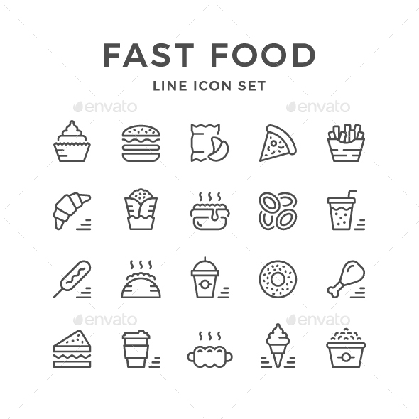Set Line Icons of Fast Food - Man-made objects Objects