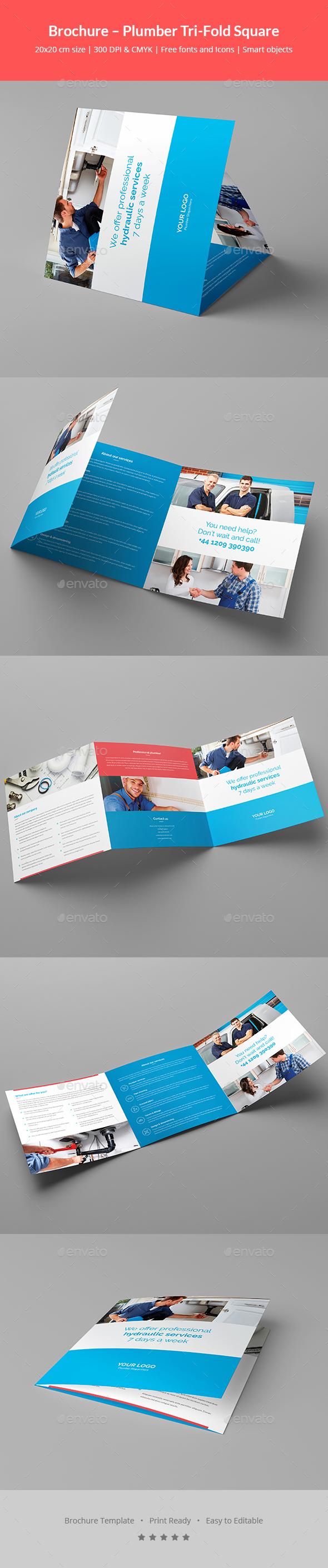 Brochure – Plumber Tri-Fold Square - Corporate Brochures