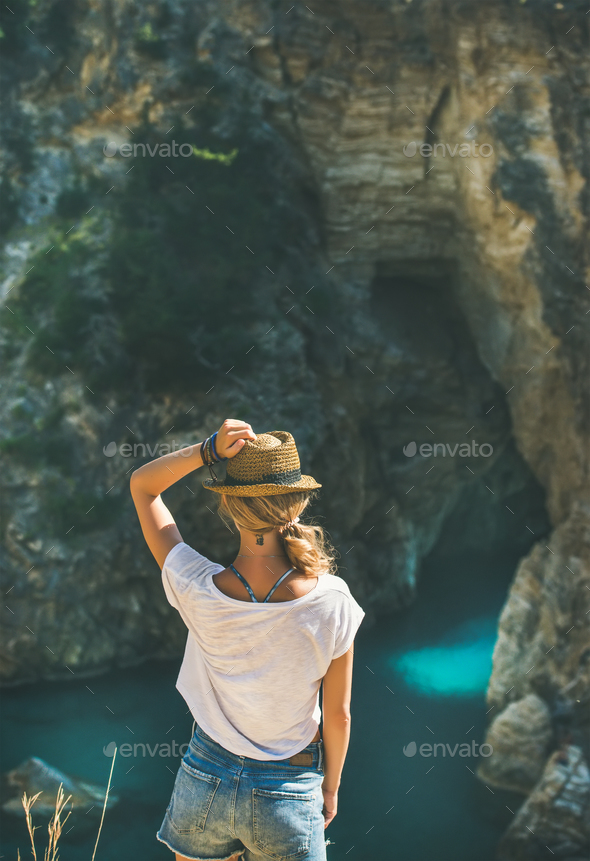 Young woman standing in Antiocheia Ad Cragum town - Stock Photo - Images