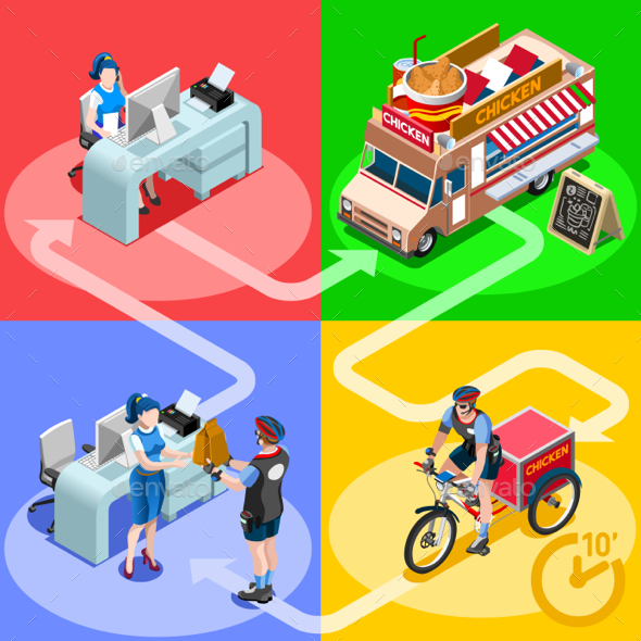 Food Truck Chicken Wings Home Delivery Vector Isometric People - Vectors