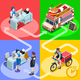 Food Truck Chicken Wings Home Delivery Vector Isometric People