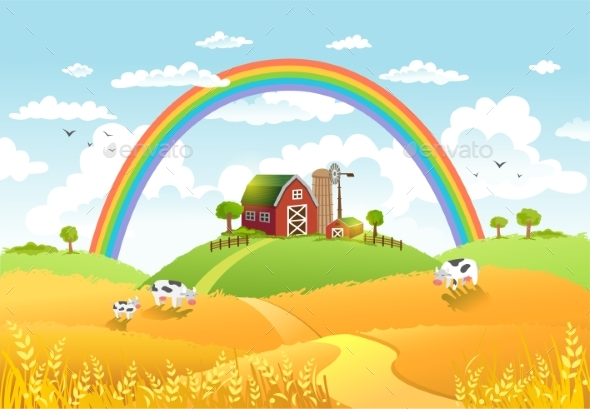 Happy Farm Vector Illustration. - Landscapes Nature