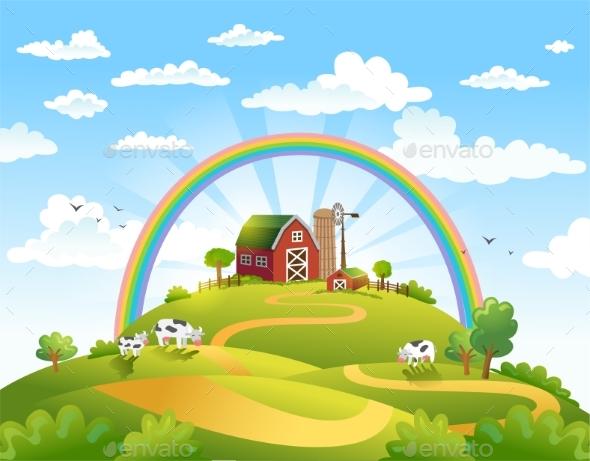 Happy Farm Vector Illustration. - Landscapes Nature