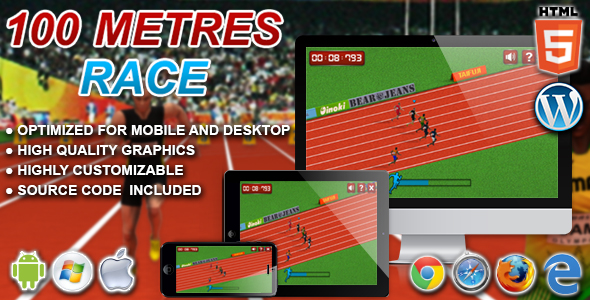 100 Metres Race - HTML5 Sport Game - CodeCanyon Item for Sale