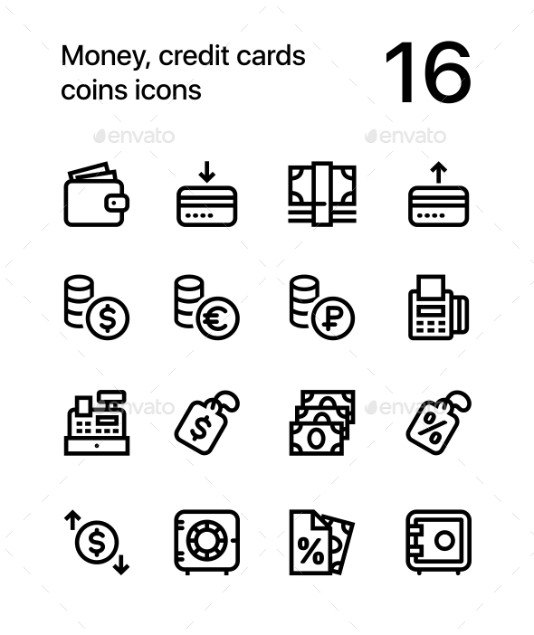 Money, Credit Cards, Coins Icons for Web and Mobile Design Pack 2 - Business Icons