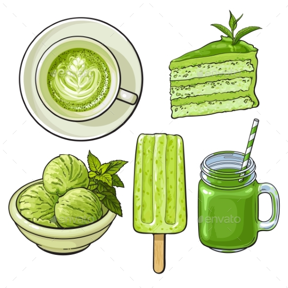 Hand Drawn Food with Matcha Tea - Ice Cream and Cake - Food Objects