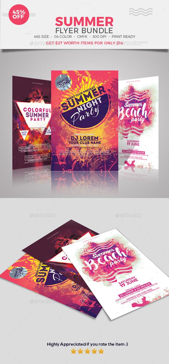 Summer Party Flyer Bundle set 01 - Events Flyers