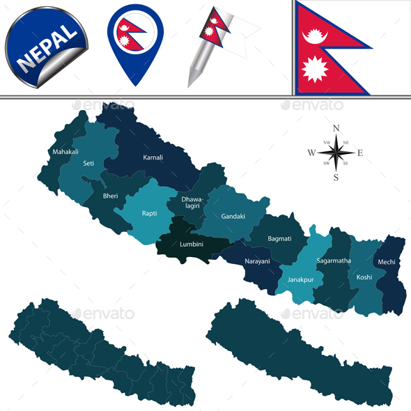 Map of Nepal with Zones - Travel Conceptual