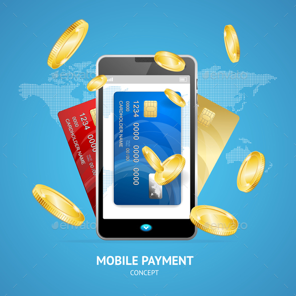 Realistic Mobile Phone Payment Concept - Concepts Business