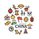 Symbol of China Color Thin Line Icon Set