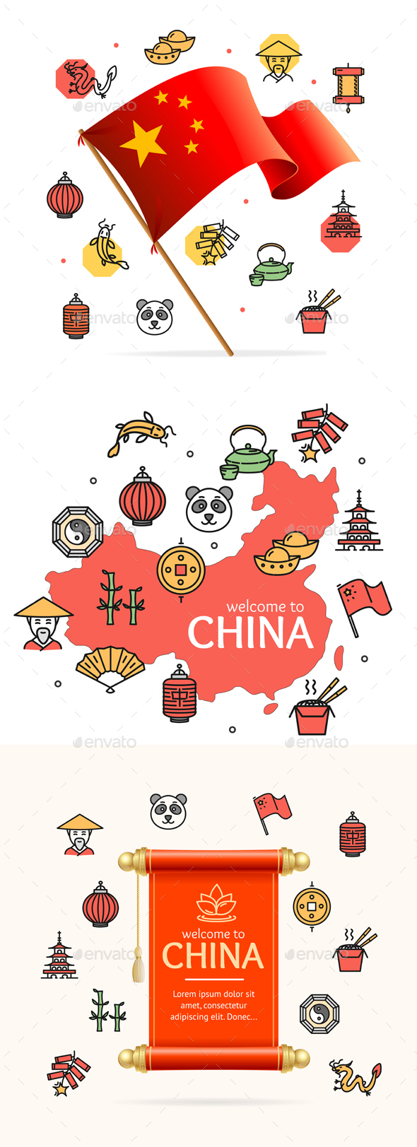 China Design Template Line Icon Welcome Concept - Travel Conceptual