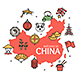 China Design Template Line Icon Welcome Concept