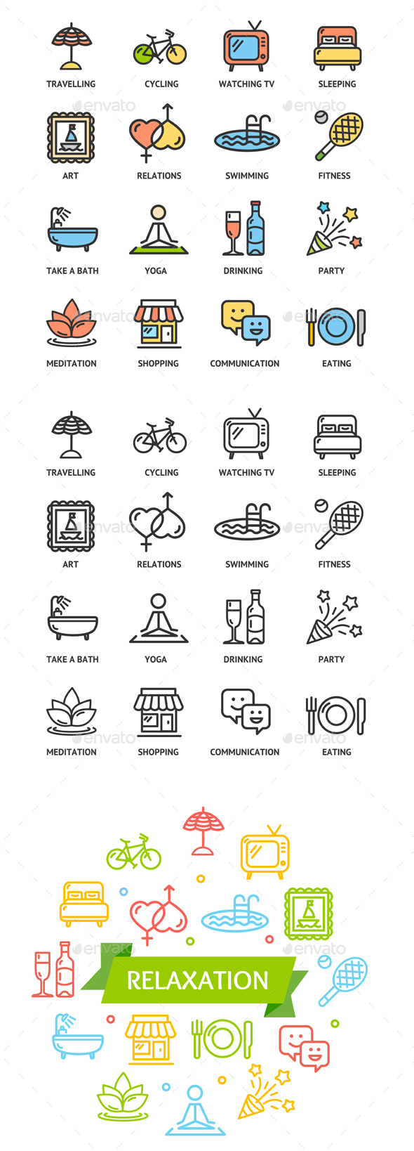 Relaxation Rest Time Color Thin Line Icon Set - Miscellaneous Conceptual
