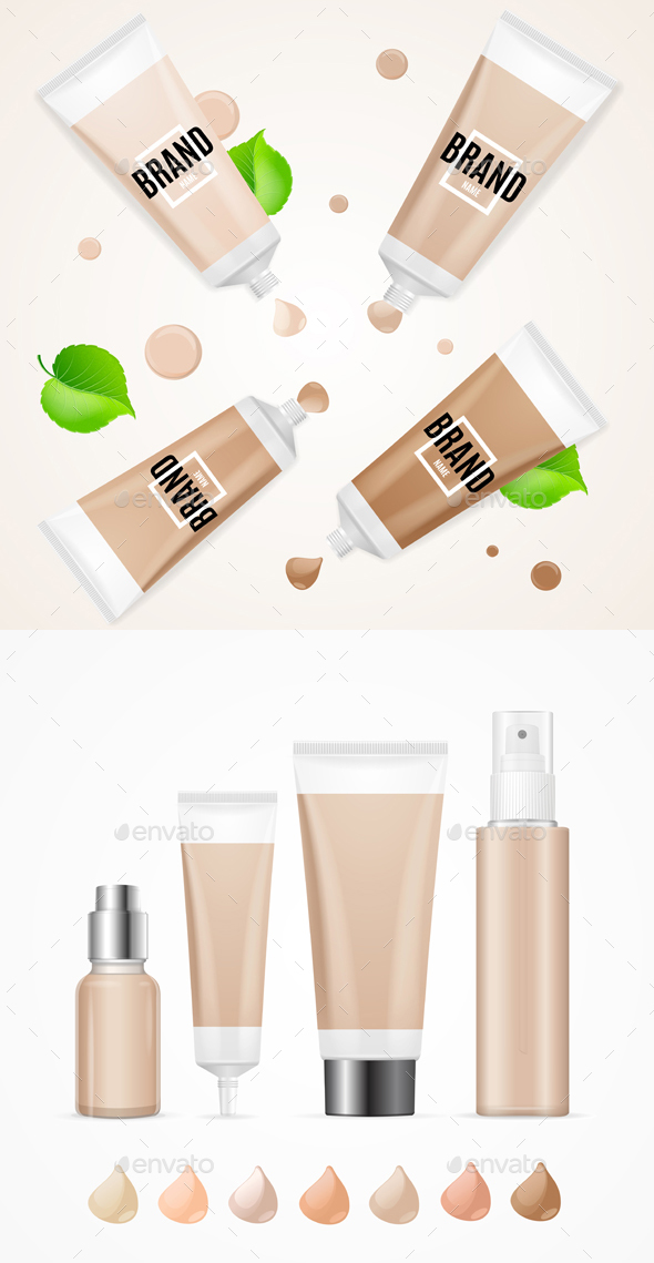 Realistic Empty Template Foundation Cream Package Set - Health/Medicine Conceptual