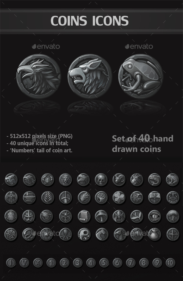 Coins Icons - Miscellaneous Game Assets