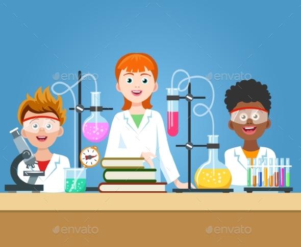 Pupils in Chemistry Lab - Miscellaneous Vectors