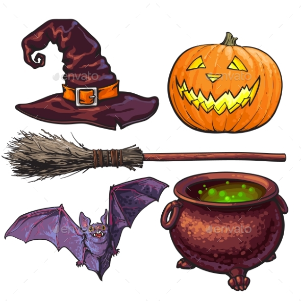 Witch and Halloween Accessories - Miscellaneous Vectors