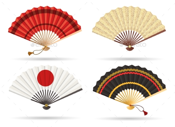 Oriental Japan Fan Set - Man-made Objects Objects