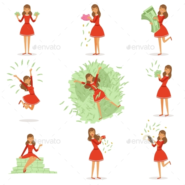 Young Rich Woman in a Red Dress - People Characters