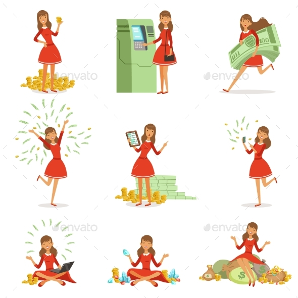 Young Millionaire Woman in a Red Dress - People Characters