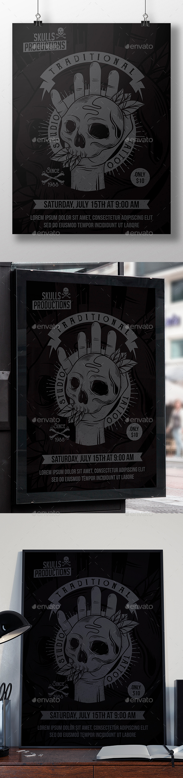 Skull Hand Tattoo Flyer - Miscellaneous Events