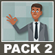 Black Businessman And Black Businesswoman Cartoon Characters Pack 2