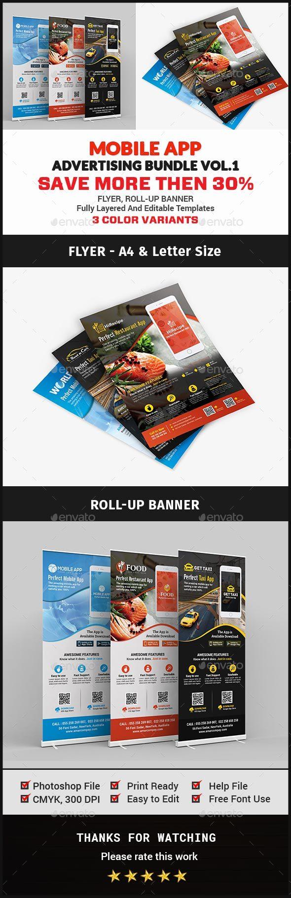 Mobile App Advertising Bundle Vol.1 - Signage Print Templates
