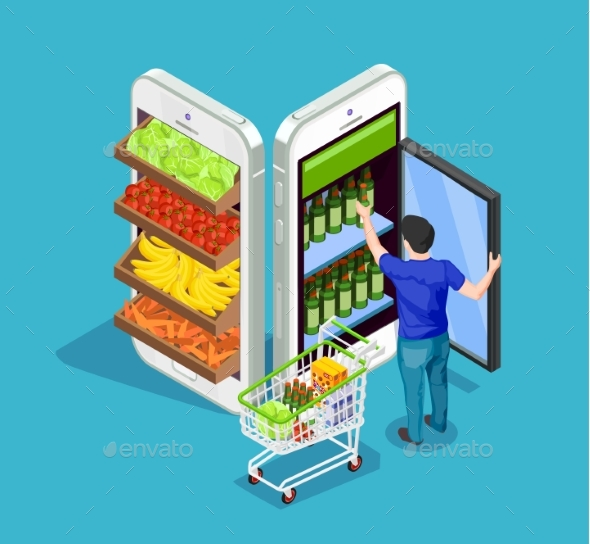 Isometric People Online Shopping - Food Objects