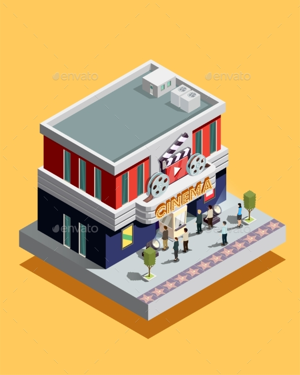 Isometric Cinema Illustration - Buildings Objects