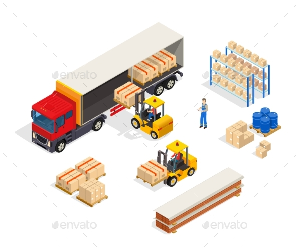 Warehouse Vehicular Loading Composition - Miscellaneous Vectors