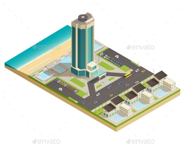 Luxury Hotel Building Isometric Composition - Buildings Objects