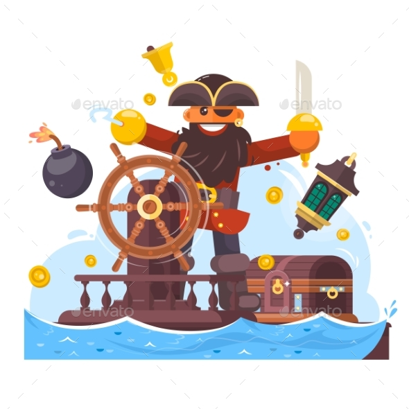 Cartoon Pirate with Sword and Hook on Ship - Miscellaneous Vectors