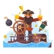 Cartoon Pirate with Sword and Hook on Ship
