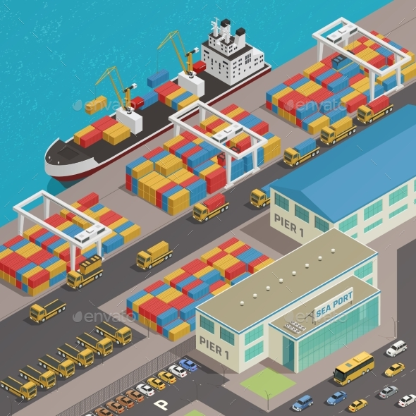 Freight Barge Harbor Wharf Isometric - Industries Business