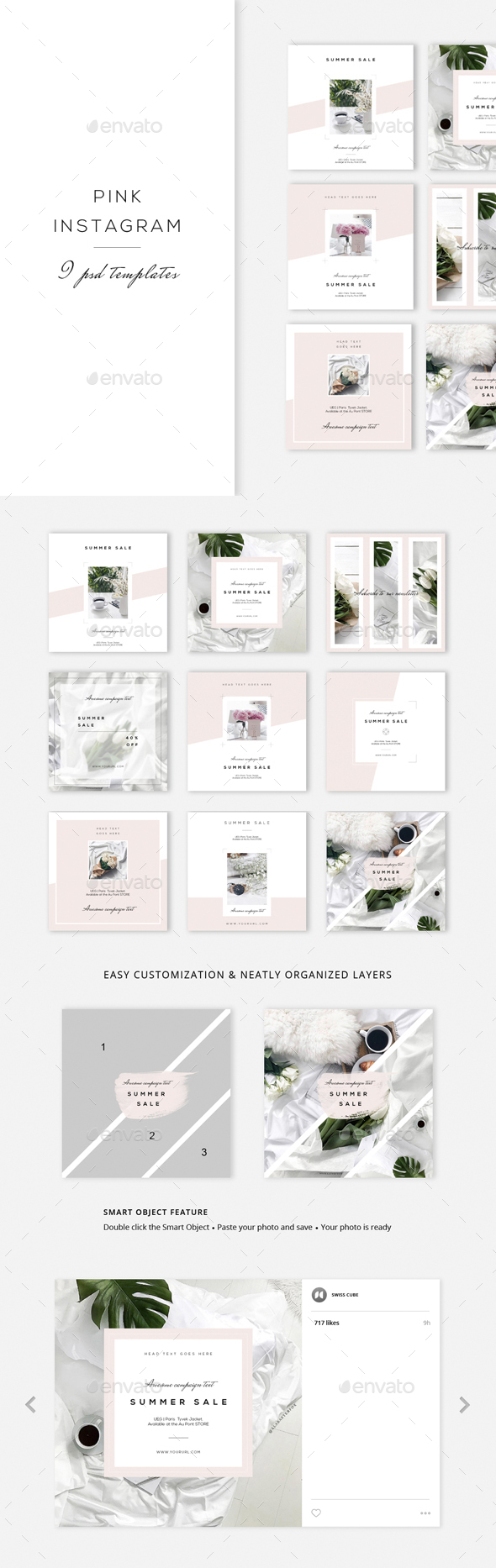 Pink Instagram - 9 Designs - Social Media Web Elements