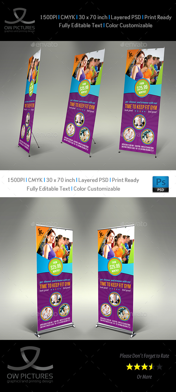 Fitness GYM  Roll Up Signage Banner Template Vol.2 - Signage Print Templates