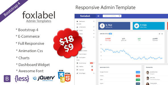 Foxlabel - Bootstrap 4 Admin Template