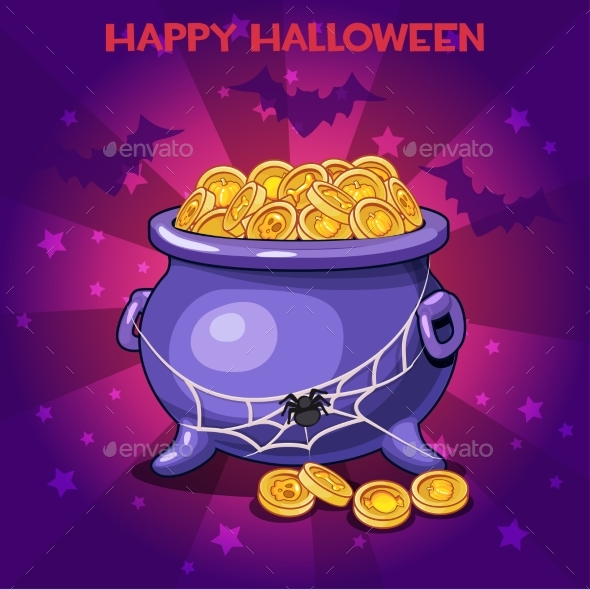 Cartoon Pot and Coins for Happy Halloween - Miscellaneous Seasons/Holidays