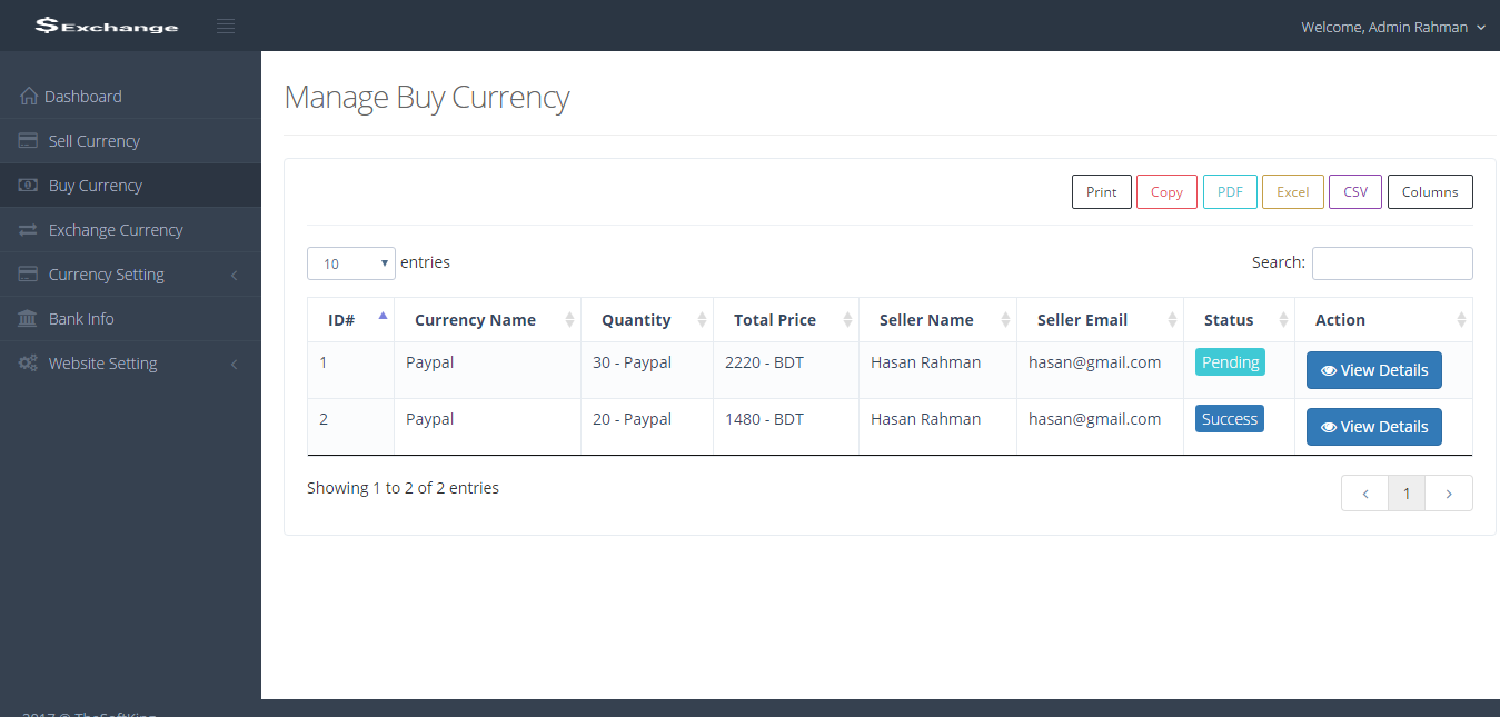 Currency exchange platform