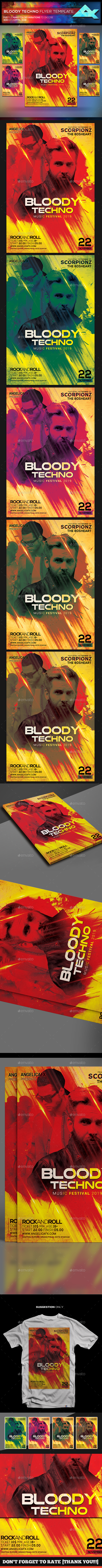Bloody Techno Music Festival Flyer Template - Flyers Print Templates