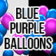 3D Blue Purple Matte Party Balloons - VideoHive Item for Sale