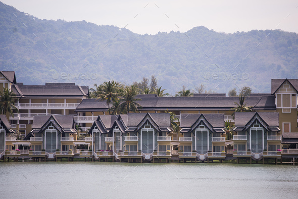 Luxury houses cottage village on the shore of the lake - Stock Photo - Images