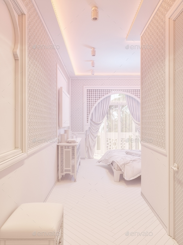 3d Render Bedroom Islamic Style Interior Design - Architecture 3D Renders