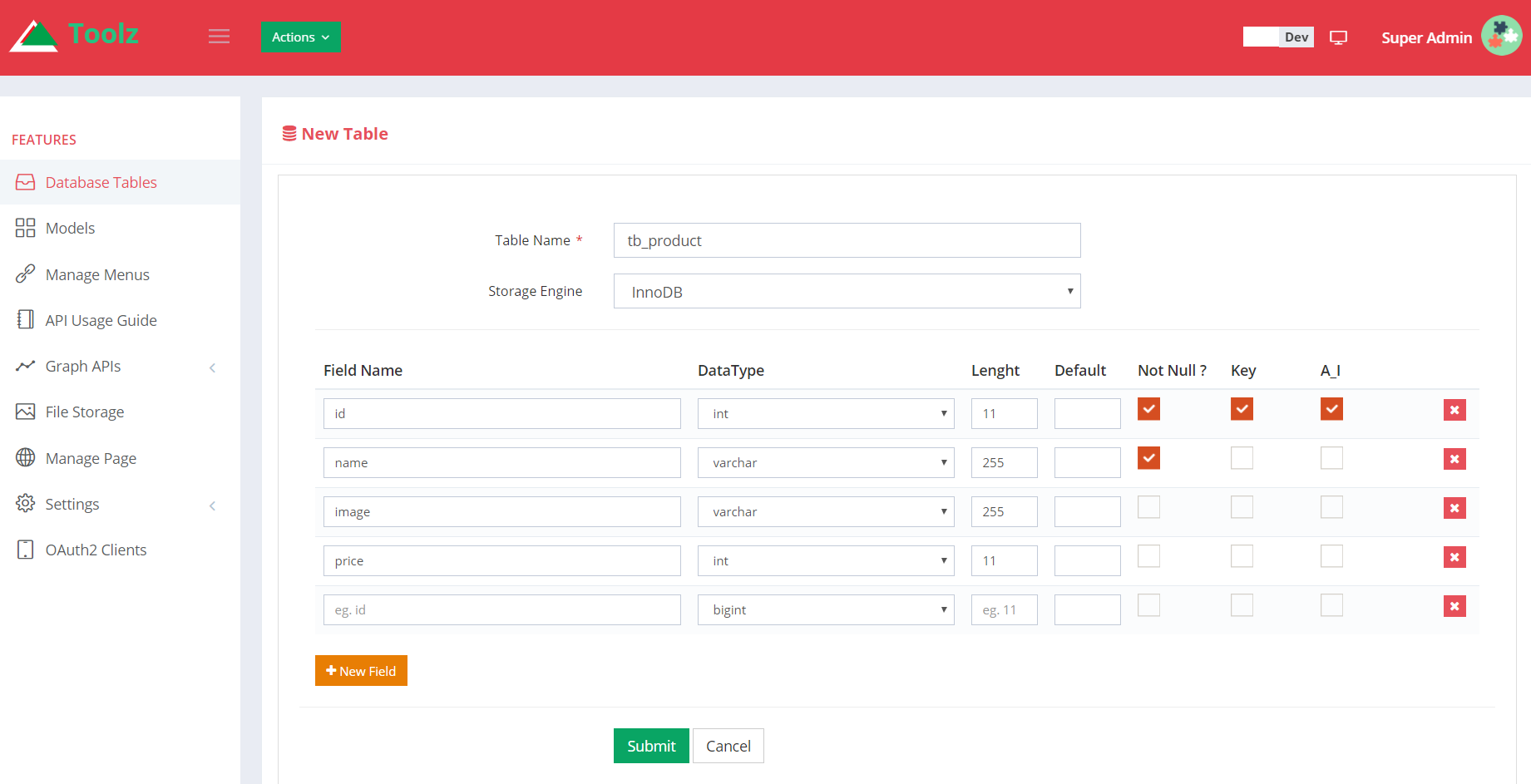 Api toolz php laravel v5 4 backend restful api gui for Table design using php