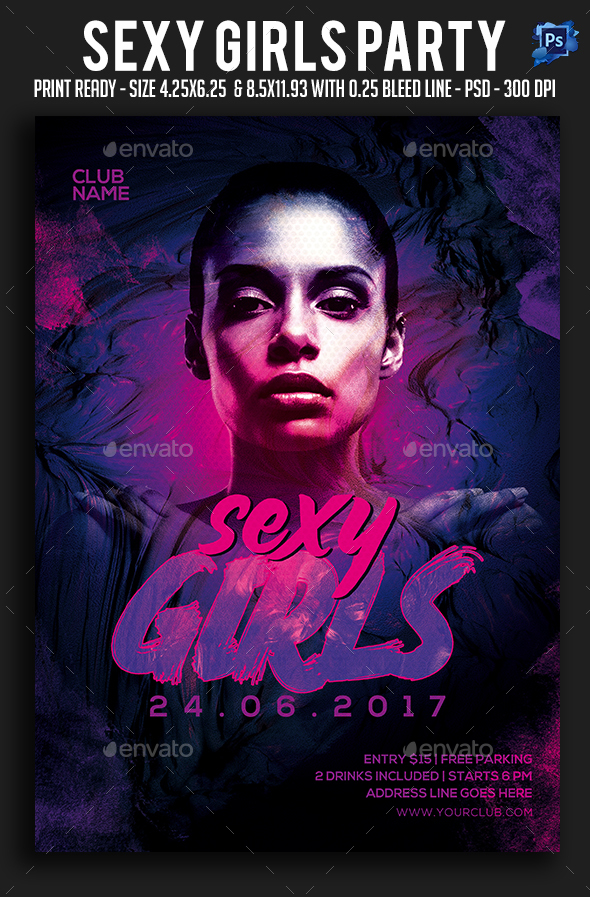 Sexy Girls Party Flyer - Clubs & Parties Events