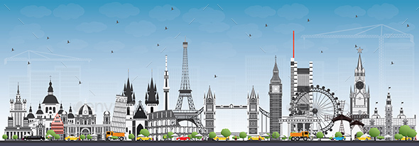 Famous Landmarks in Europe. Vector Illustration. Business Travel and Tourism Concept. - Buildings Objects