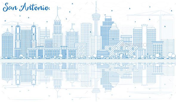 Outline San Antonio Skyline with Blue Buildings and Reflections. - Buildings Objects